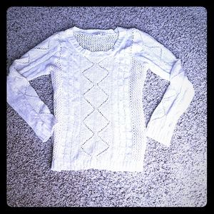 Pink Rose Sweaters - White cable knit sweater